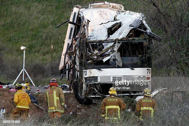 BODY *** On Monday morning investigation continues at the scene tour bus crash happened on last Sunday evening on Highway 38 that killed at least...