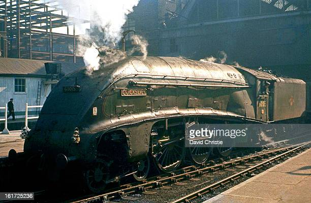 On my second visit to Kings Cross on 2/3/63 there was only 3 more months to go before the end of steam here. Quicksilver was as usual with Top Shed...