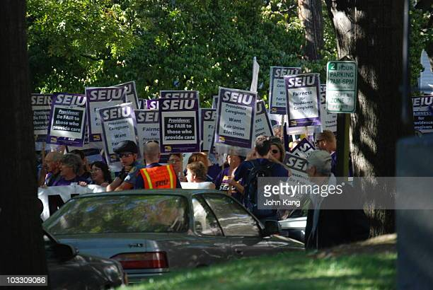 On my way home from Seattle I was at a stoplight where the Seattle police stopped traffic for the SEIU demonstrators doing their walk strike demo The...