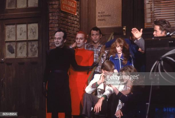 On NBC's Saturday Night Live singer Klaus Nomi unident Bill Murray singer David Bowie Laraine Newman Jane Curtin and Gilda Radner