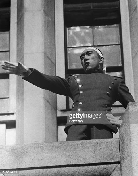 On Nov. 5th, Mishima with five uniformed followers charged in to the Ichigaya Station of the Japanese ground self-defense forces, slashed at soldiers...