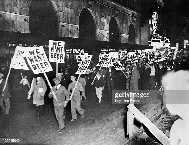 On November 10 American Workers Marched In New York With Signs Bearing The Inscription 'We Want Beer' While Demanding The Abolition Of Prohibition...