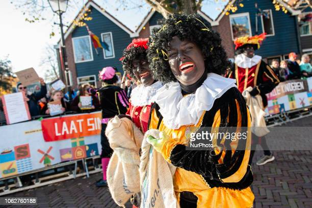 On November 17th 2018 in Zaandstad Netherlands Like each year the first Saturday after 11 November the redandwhiteclad Sinterklaas arrives by...