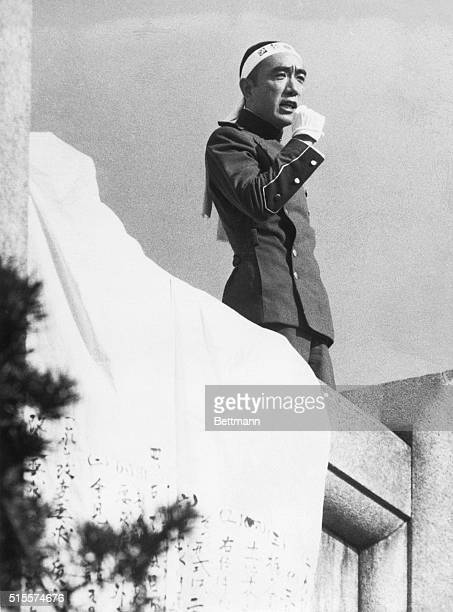"""On November 25 Mishima Yukio and his followers arrive at the Ichigaya Headquarters of the Japanese Eastern Army to read his """"Manifesto"""", trying to..."""