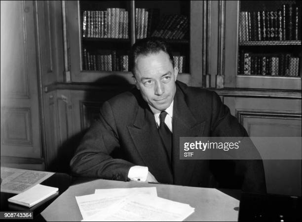 On October 17 1957 French writer Albert Camus poses for a portrait in Paris following the announcement of his being awarded the Noel Prize for...