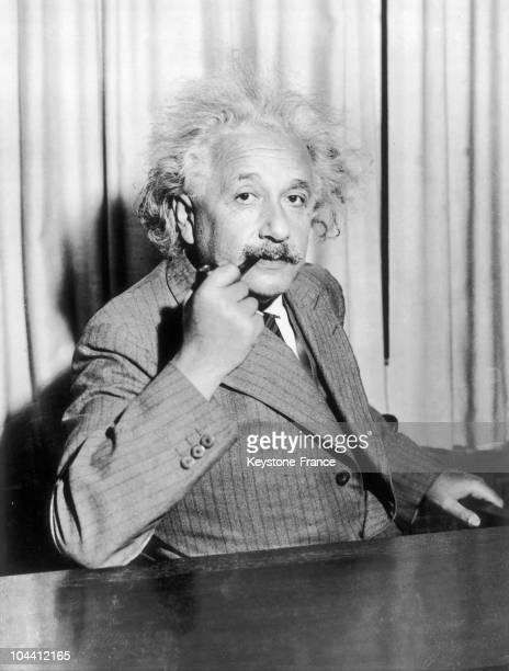 On October 18 the Professor Albert EINSTEIN seated at his desk during his first day at Princeton university where he spent six months