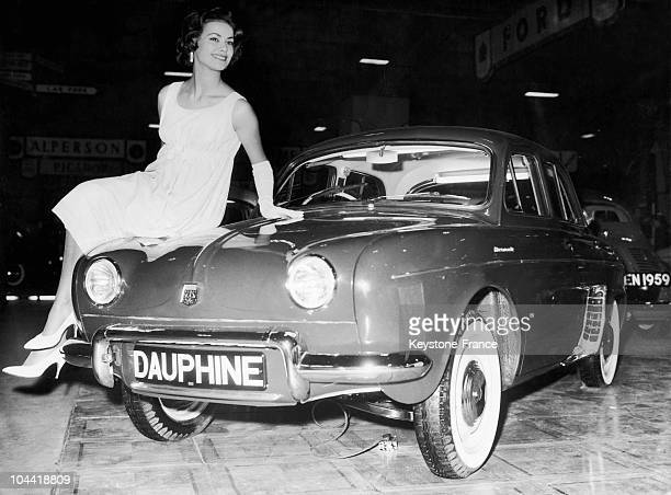 On October 21 During The Auto Showroom Held At Earls Court In London Claudine Auger That Year'S Miss France Presented The Latest Renault Dauphine