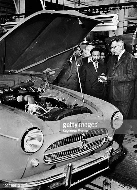 On October 29 The Emperor Of Ethiopia Watching With Pierre Lefaucheux Chief Executive Of Renault The Motor Of A Fregate