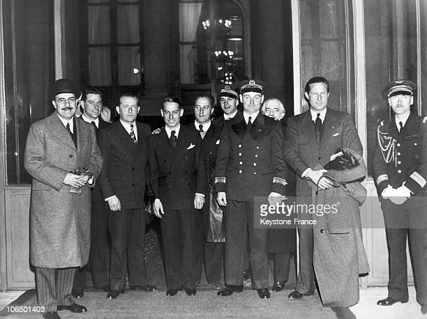 On October 30Th 1934 Jean Mermoz And The Crew Of The Aircraft ArcEnCiel With Domergue Laverin Giaroli And Claver Come Out Of The Palais De L'Elysee...