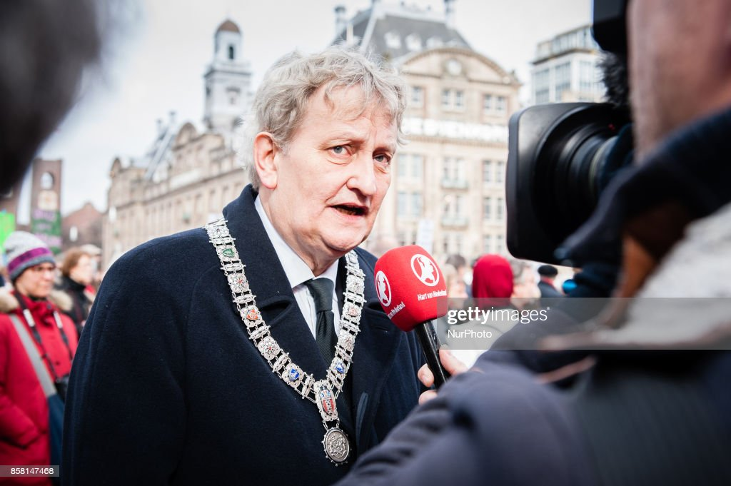 On October 6th, 2017 in Amsterdam, Netherlands. Amsterdam mayor Eberhard van der Laan has died from lung cancer at the age of 62. Van der Laan, who first took up the post in 2010, stepped down from formal duties last month after doctors said there was no more that could be done for him. In 2013, Van der Laan, a smoker, was treated for prostate cancer. Last year, Van der Laan was renamed for a second, six-year term as Amsterdam mayor. A lawyer by profession and a Labour party supporter, he leaves his wife Femke and five children. In picture: Amsterdam mayor Eberhard van der Laan in 2016, during a demonstration in Amsterdam against the Brussels attacks that took place last year.