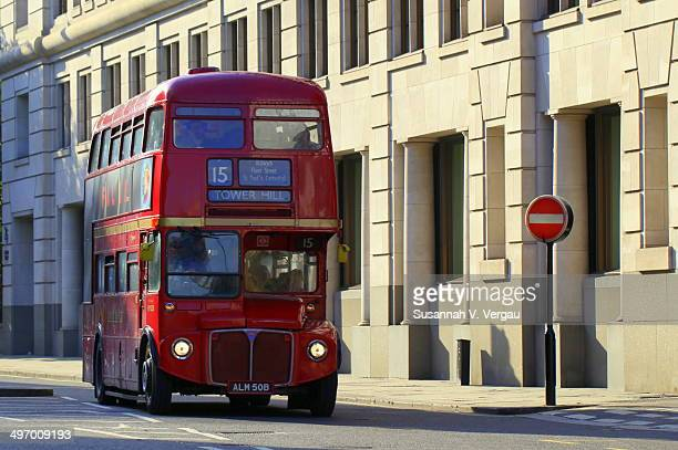 On of the old double-decker buses in London, the No. 15 to Tower Hill.