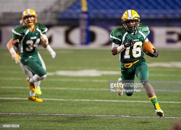 On one of the first plays of the game Damascus Hornets qb fs Markus Vinson has plenty of room to run during the Maryland 3A state football...