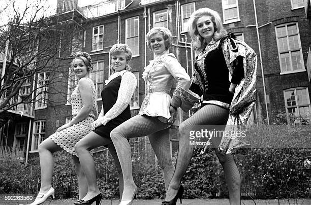 On parade in London were eight of the loveliest legs in pantomime belonging to Joyanne Delancey who plays Prince Charming at Oxford Yvonne Marsh who...