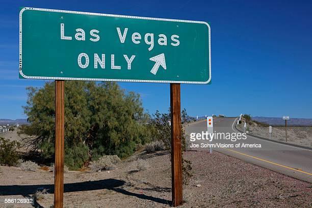 On ramp sign saying ''Las Vegas Only'' Interstate highway 15