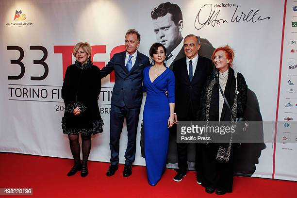 On red carpet at opening ceremony of the 33rd Torino Film Festival the concilior Antonella Parigi with president of the Festival Paul Damilano the...