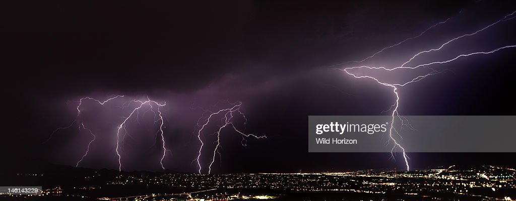 On Right Two Types Of Lightning From One Forked Channel Cloud To