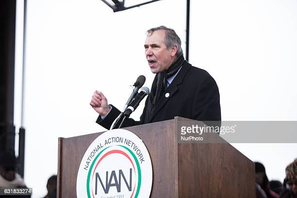 On Saturday January 14 in Washington DC Senator Jeff Merkley addresses the crowd at the We Shall Not Be Moved march organized by Rev Al Sharptons...