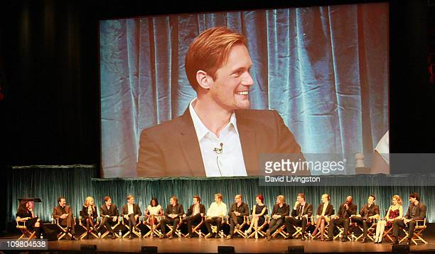 On screen actor Alexander Skarsgard and on stage TV Guide EditorinChief Debra Birnbaum executive producer Alan Ball and actors Anna Paquin Stephen...