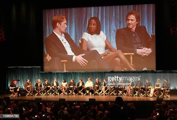 On screen actors Alexander Skarsgard Rutina Wesley and Sam Trammell and on stage TV Guide EditorinChief Debra Birnbaum executive producer Alan Ball...