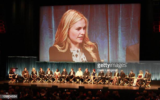 On screen actress Anna Paquin and on stage TV Guide EditorinChief Debra Birnbaum executive producer Alan Ball and actors Anna Paquin Stephen Moyer...