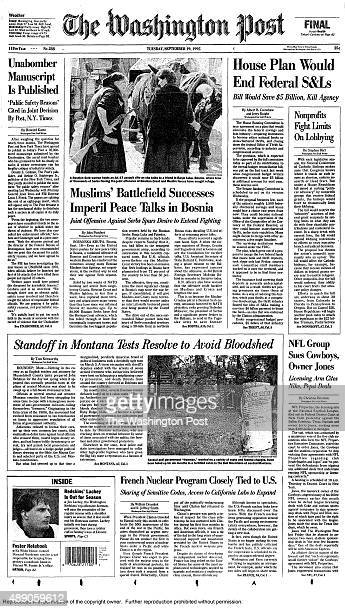 FILE On September 19 1995 The WAshington Post published more than 35000 words spread over eight pages of a special section an anonymous author laid...