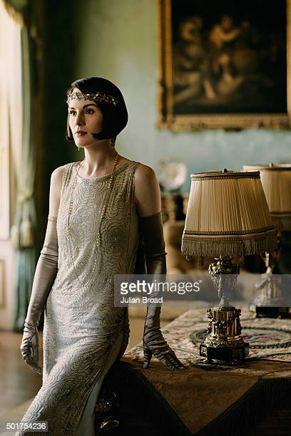 On set during the production of the last series of Downton Abbey with Michelle Dockery as Lady Mary Crawley photographed for Variety magazine on July...