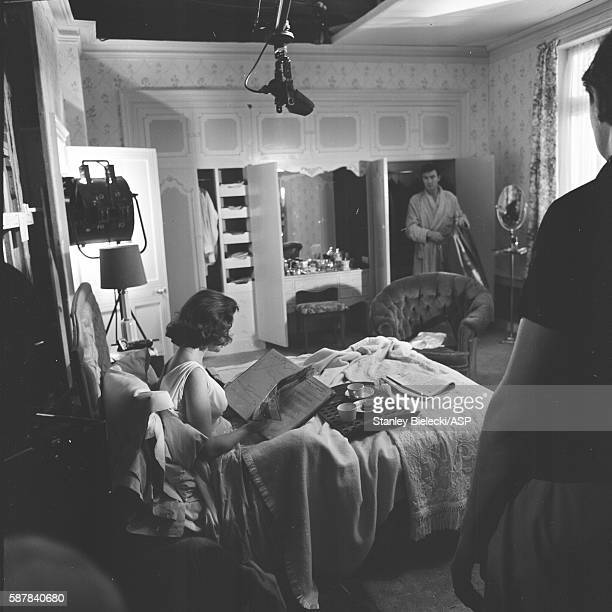 On set making the film 'Life At The Top' with Laurence Harvey and Jean Simmons United Kingdom 1965