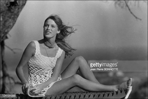 On set of 'La Piscine' directed by Jacques Deray In Saint Tropez France In August 1968 Jane Birkin