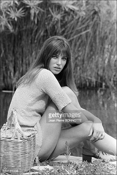 On set of La Piscine directed by Jacques Deray In Saint Tropez France In August 1968 Jane Birkin