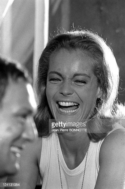 On set of 'La Piscine' directed by Jacques Deray In Saint Tropez France In August 1968 Romy Schneider