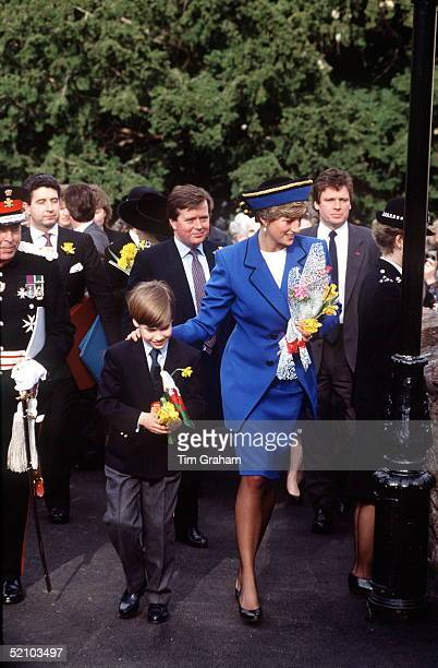 On St David's Day Princess Diana With Her Son Prince William During His First Official Engagement In Wales Behind Is Her Bodyguard Ken Wharfe And Her...