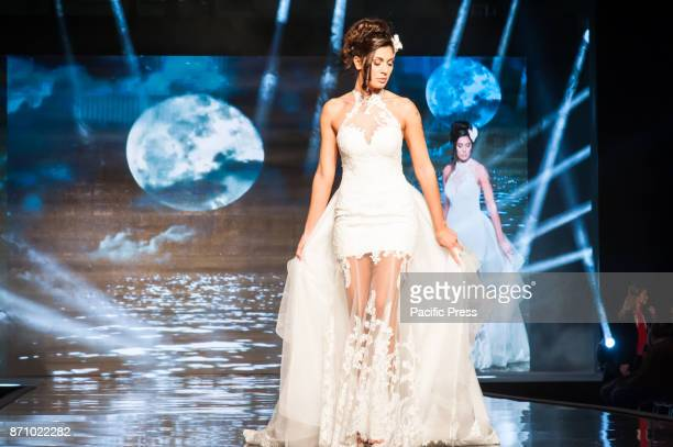 OLTREMARE NAPLES ITALY/ CAMPANIA ITALY On stage at the All Bridal Show at the Overseas Exhibition they took off the wedding dresses of Mimma Giò...