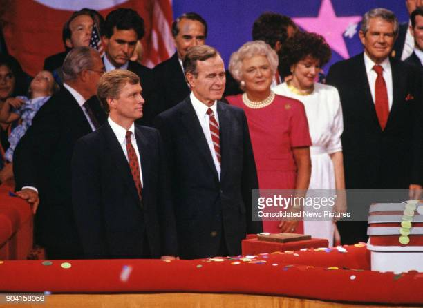 On stage at the Louisiana Superdome during the Republican National Convention the party's nominees for Vice President Dan Quayle and President George...
