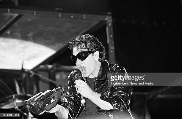 U2 on stage at their Zooropa Concert at the RDS in Dublin