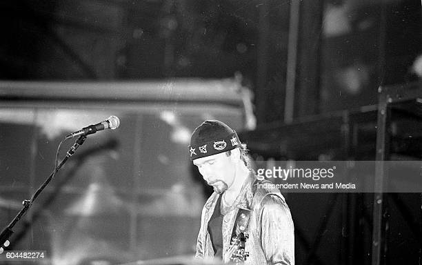 On stage at their Zooropa Concert at the RDS in Dublin, .