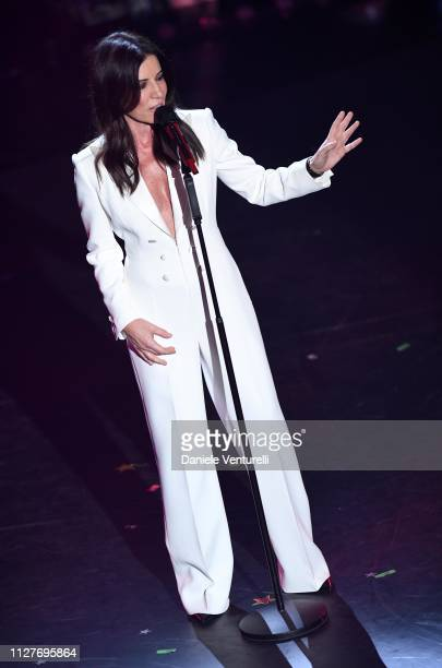 on stage during the first night of the 69th Sanremo Music Festival at Teatro Ariston on February 05 2019 in Sanremo Italy