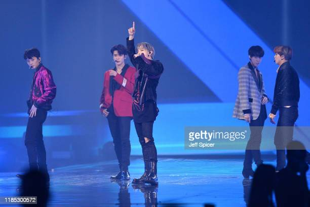 NCT 127 on stage during the MTV EMAs 2019 at FIBES Conference and Exhibition Centre on November 03 2019 in Seville Spain
