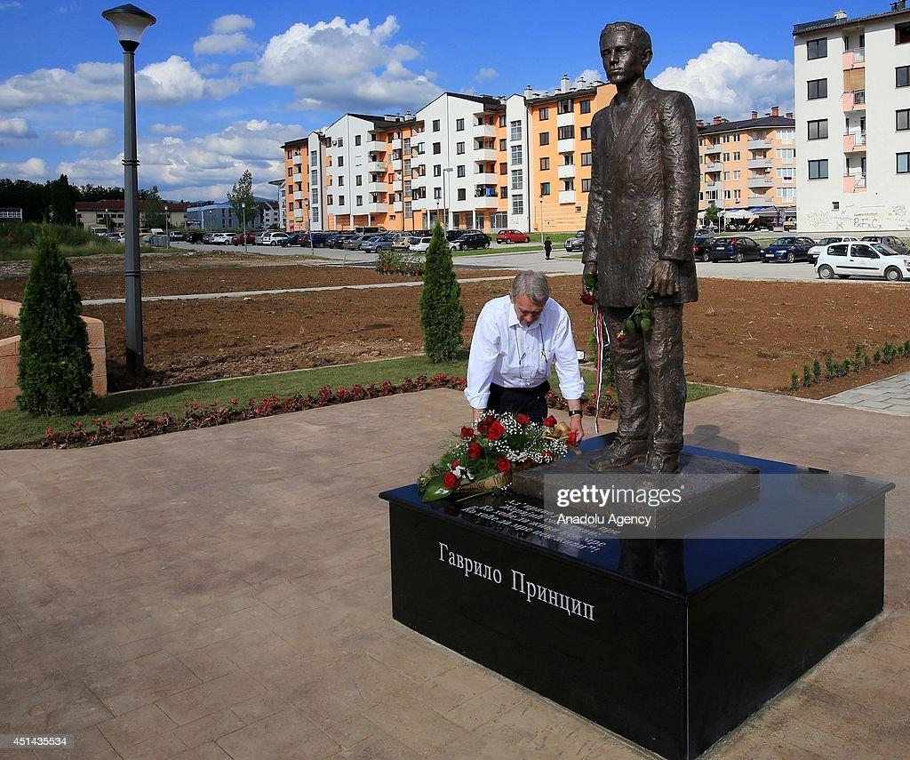 Statue of Serbian nationalist Gavrilo Princip : News Photo
