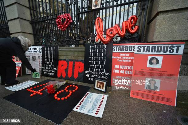 On the 37th anniversary of the Stardust nightclub tragedy candles and flowers were placed outside Leinster House by relatives of the 48 victims of...