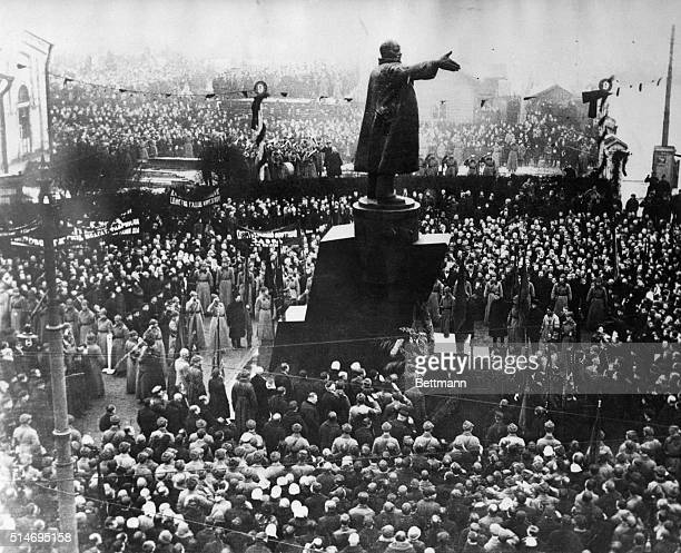 On the 9th anniversary of the Bolshevik Revolution a large statue of Lenin is unveiled to a tremendous crowd in Leningrad