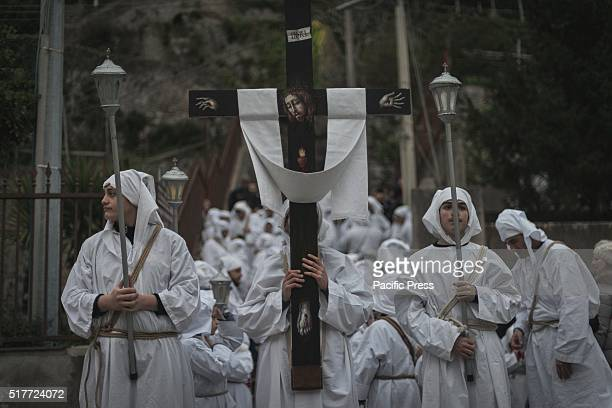 COAST MINORI SALERNO ITALY On the afternoon of Maundy Thursday during the Holy Week in Minori is held the Penitential Procession of the 'Battenti'...