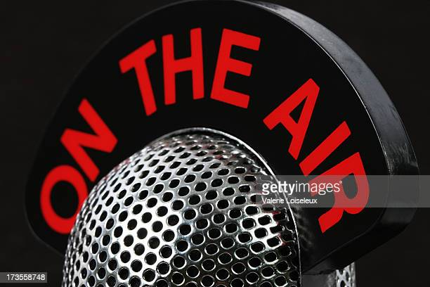 on the air - media interview stock pictures, royalty-free photos & images