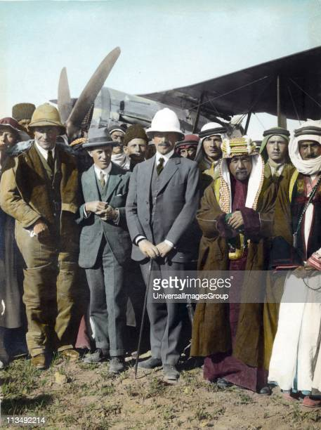 On the airfield at Amman Jordan April 1921 T E Lawrence Sir Herbert Samuel Emir Abdullah Woman far left possibly Gertrude Bell Sheik Majid Pasha el...