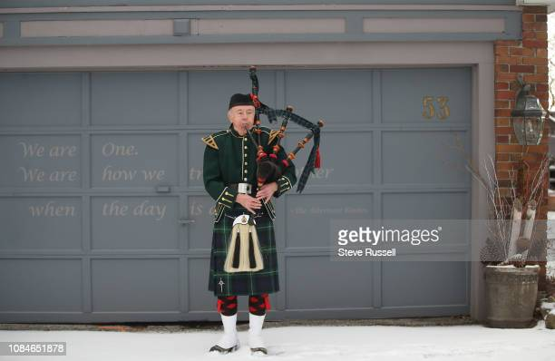 TORONTO ON JANUARY 18 On the anniversary of the arrest of Bruce McArthur accused of killing seven men bagpiper Bob Stobie plays a lament for the...
