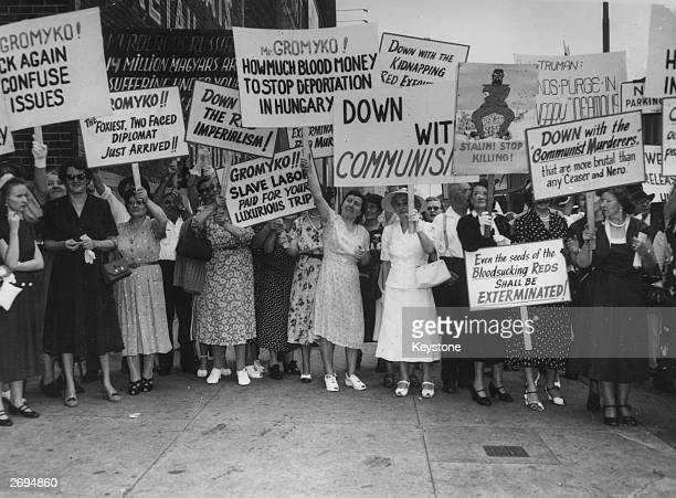 On the arrival of Soviet Foreign Minister Andrei Gromyko in New York a group of women protest against the Soviet regime A typical banner reads...