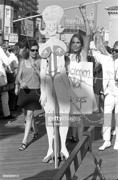 On the Atlantic City Boardwalk, a demonstrator operates a marionette as she protests the Miss America beauty pageant, Atlantic City, New Jersey,...