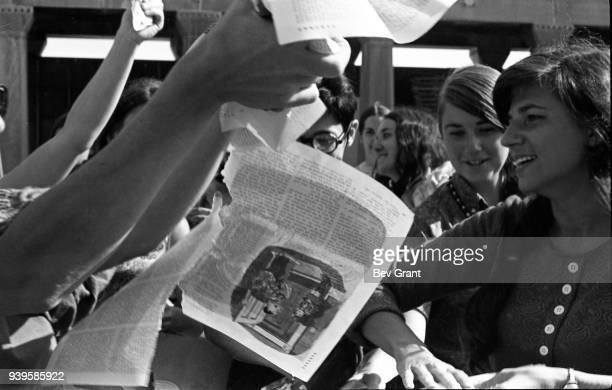On the Atlantic City Boardwalk demonstrators among them Helen Kritzler tear up magazines as they protest the Miss America beauty pageant Atlantic...