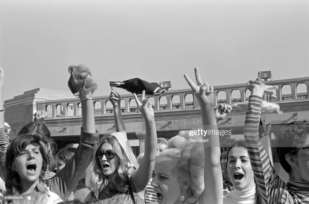 On the Atlantic City Boardwalk, demonstrators, some waving high heels or underwear, protest the Miss America beauty pageant, Atlantic City, New Jersey, September 7, 1968. The protest, organized by the New York Radical Women group, was known as 'No More Miss America,' after a pamphlet written and distributed by the group.