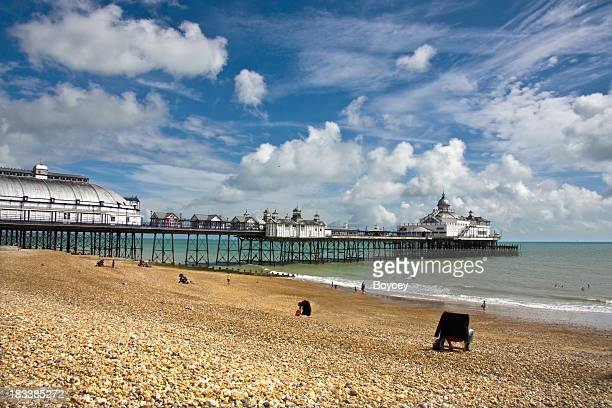 on the beach at eastbourne - eastbourne stock pictures, royalty-free photos & images