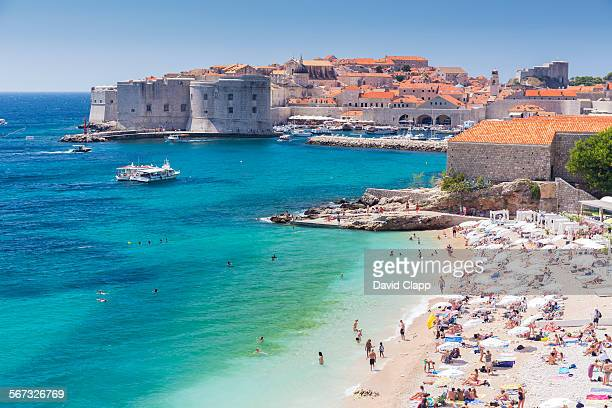 on the beach in dubrovnik, croatia - croatia stock pictures, royalty-free photos & images